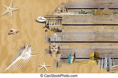 World landmarks with beach sand and shells