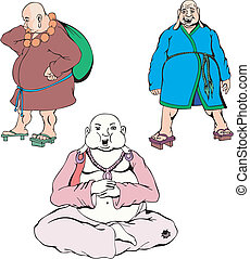 Hotei. Set of Color Vector Illustrations. Buddhism.