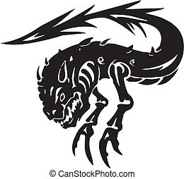 Sea Monster - vector illustration Vinyl-ready - Water...