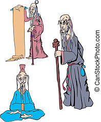 Oriental Old Men Set of Color Vector Illustrations