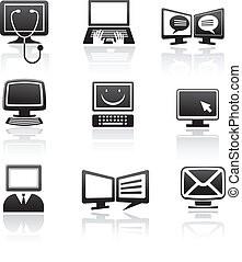 set of computer icons and elements, vector