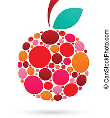 Apple icon with dotted pattern, vector