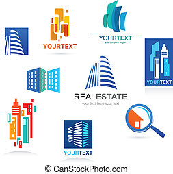 Collection of real estate icons and elements - Collection of...