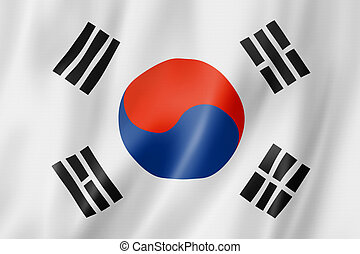 South Korean flag - South Korea flag, three dimensional...