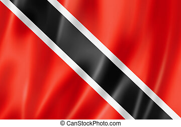 Trinidad And Tobago flag, three dimensional render, satin...