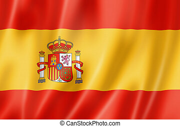 Spanish flag - Spain flag, three dimensional render, satin...
