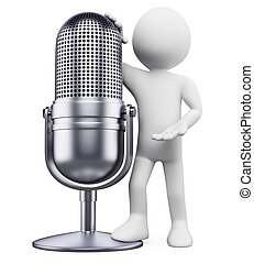 3D white people. Vintage microphone - 3d white person...