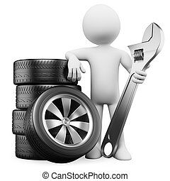 3D white people. Car mechanic - 3d white person with tires...