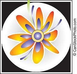 Quadro, flor, quadrado