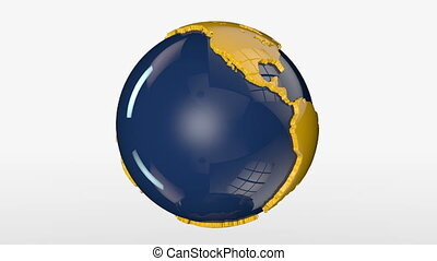 Earth Globe Blue and Yellow Rotating, loop