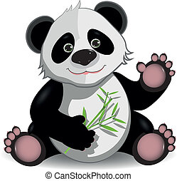 funny panda - illustration funny panda on stem of the bamboo
