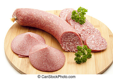 Garlic sausage with parsley on white background
