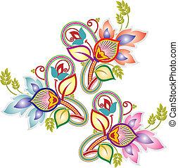 paisley, flor, desenho