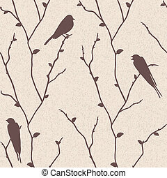 Vector seamless pattern with birds - Beautiful vector...
