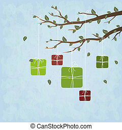 Cute gifts hanging on a tree