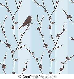 Vector seamless pattern with bird on sakura - Beautiful...