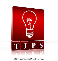 Tips - 3d cubes with text tip and light bulb sign