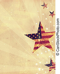 american background - stars with USA flag and rays over old...