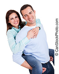 Portrait of beautiful young couple. Isolated on white