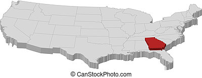 Map of the United States, Georgia highlighted - Political...