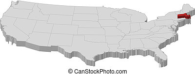 Map of the United States, Massachusetts highlighted -...