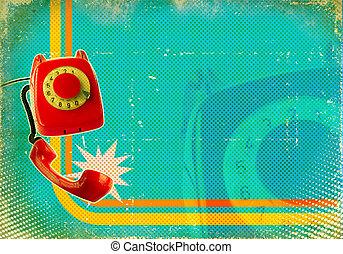 Poster with old fashioned telephone on retro paper texture