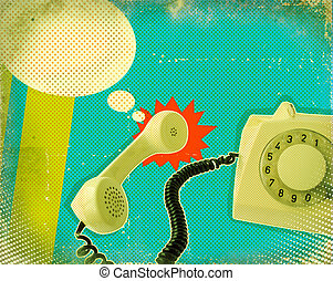Retro poster with old fashioned telephone on antique paper texture