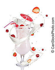 milky cocktail - Milky cocktail, isolated on white...