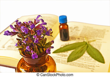 sage with herbal tincture and medieval book