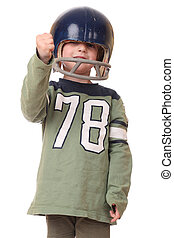 Football player - Young toddler with football helmet on...
