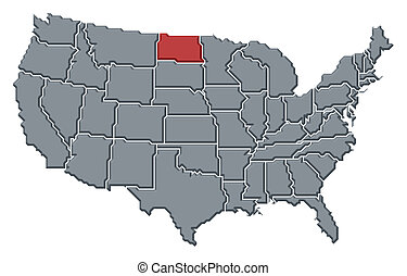 Map of the United States, North Dakota highlighted -...