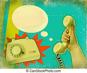 Retro communication poster.Hand with telephone