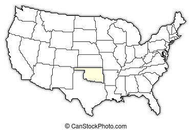 Map of the United States, Oklahoma highlighted - Political...