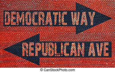 Election choice conceptual post with democratic way and...