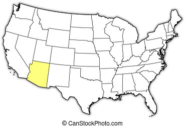 Map of the United States, Arizona highlighted