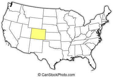 Map of the United States, Colorado highlighted - Political...