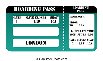 London 2012 boarding pass isolated on white background