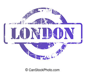 London stamp with copy space isolated on white background.