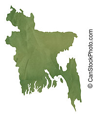 Old green map of Bangladesh in textured green paper,...