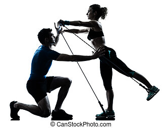 man woman exercising gymstick workout fitness - one...
