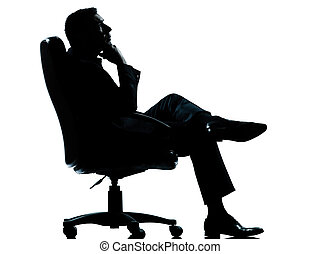 one caucasian business man relaxing thinking sitting in...