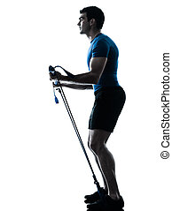 man exercising gymstick workout fitness posture - one...