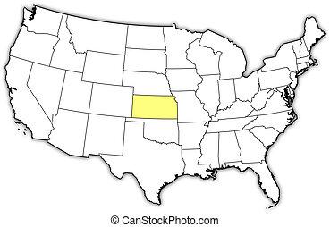 Landkarte, vereint, Staaten, Kansas, hervorgehoben