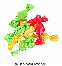 candy in colored wrapper isolated on white