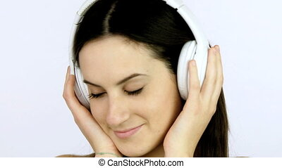 closeup of girl listening music