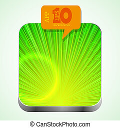 Vector green app icon with orange bubble speech. Eps10