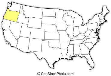 Landkarte, vereint, Staaten, oregon, hervorgehoben