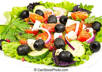 salad with olives, onion, tomato and mozzarella