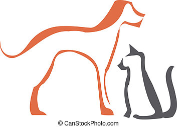 Cat and dog outlines - Simple stylized cat and dog outlines