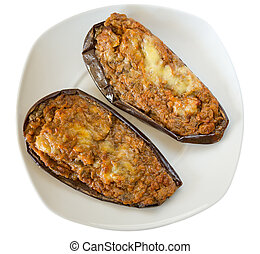 stuffed egg plant - plate of stuffed egg plant with meat and...